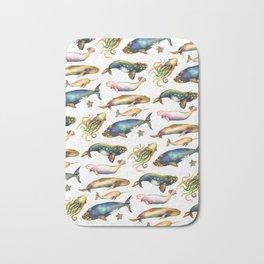 Whales and a Little Squid Bath Mat