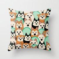 shiba inu Throw Pillows featuring Shiba Inu by Elizabeth Villacres