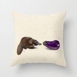 Platypus Makes a Friend Throw Pillow