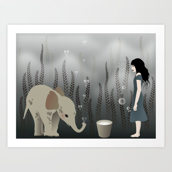 elephant in lo♥e Art Print