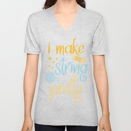 Knitting Crochet Quilting Sewing Gift Funny Unisex V-Neck