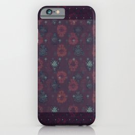 Lotus flower patchwork with green border, woodblock print style pattern iPhone Case