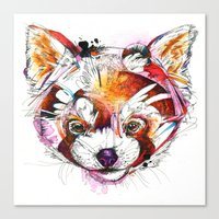 red panda Canvas Prints featuring Red Panda  by Abby Diamond