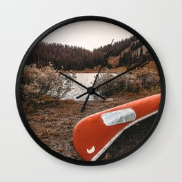 Rustic Autumn Canoe // Dusk Lit Gray Sky Pond Reflection in the Colorado Woodlands Wall Clock