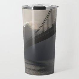 Bridge hidden in the fog at sunrise Travel Mug