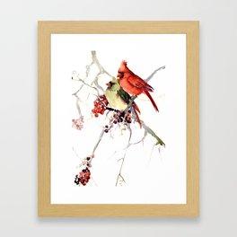 Cardinal Birds, birds art, two bird artwork cardinal bird Framed Art Print