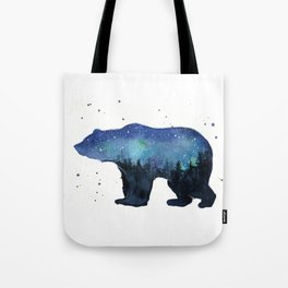 Forest Bear Silhouette Watercolor Galaxy Tote Bag