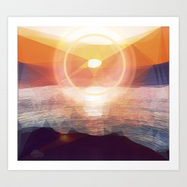 Winged Mediterranean Sunrise with circles and triangles Art Print