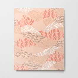 Dashes and dots in blush pink // abstract pattern Metal Print
