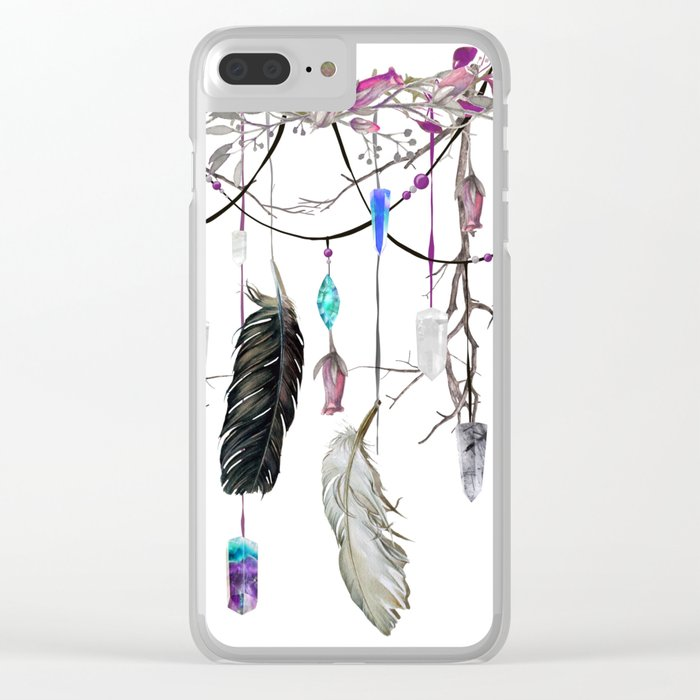 Raven Feathers And Roses Crystal Spirit Gazer Clear iPhone Case