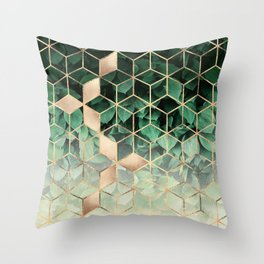 Leaves And Cubes Throw Pillow