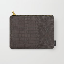 Alligator Brown Leather Print Carry-All Pouch