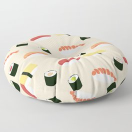 Lovely Japanes sushi drawing illustration on pastel background. Maki ands rolls with tuna, salmon, shrimp, crab. Floor Pillow