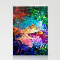 jazzberry Stationery Cards featuring WELCOME TO UTOPIA Bold Rainbow Multicolor Abstract Painting Forest Nature Whimsical Fantasy Fine Art by EbiEmporium