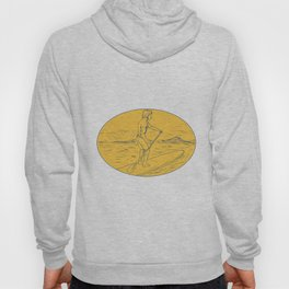 Dude Stand Up Paddle Board Oval Drawing Hoody