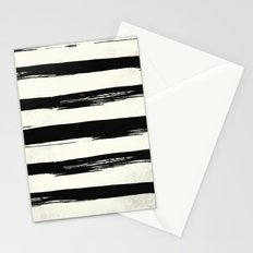 Tribal Paint Stripes Black and Cream Stationery Cards