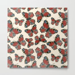 Butterflies watercolor pattern Metal Print