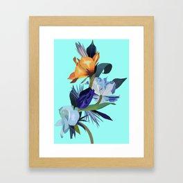 Flowers in blue light. Framed Art Print