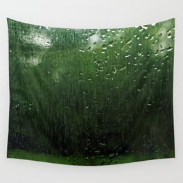 Window Raindrops Green Trees Abstract Wall Tapestry