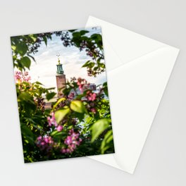 Stockholm City Hall in Summer Greens Stationery Cards