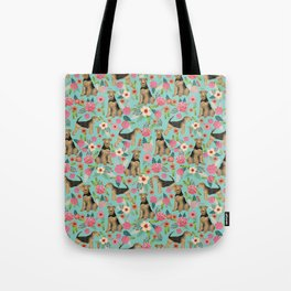 Airedale Terrier floral dog print dog pillow cute airedale terrier floral phone case Tote Bag