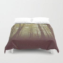 Wood in winter with fog Duvet Cover