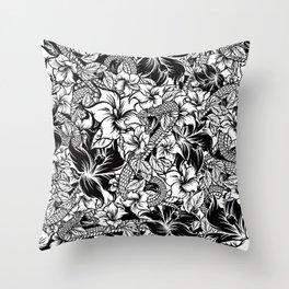 Snaky Fleur, Black 'n White Throw Pillow