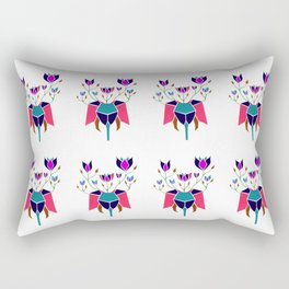 Elephant with Flowers Gold Pink Green Blue and Magenta Rectangular Pillow