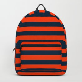 Orange Pop & Navy Blue Tent Stripe Backpack