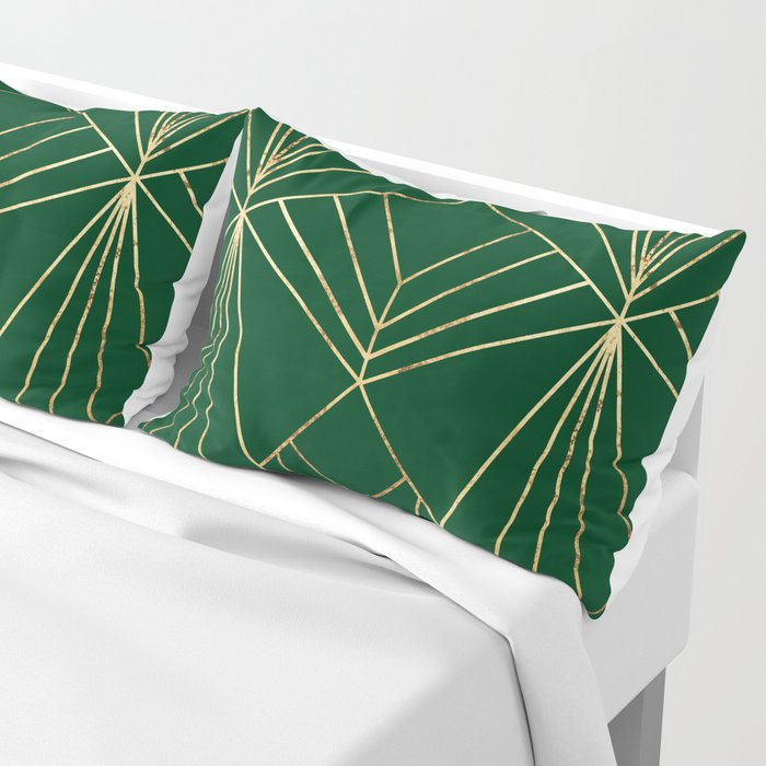 Art Deco in Gold & Green - Large Scale Kissenbezug