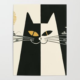 Vintage Black and White Cat Poster