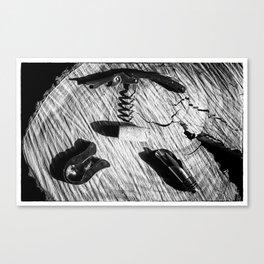 Black and white corkscrew Canvas Print