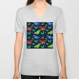 Blue And Red Butterflies Pattern On Black Unisex V-Neck