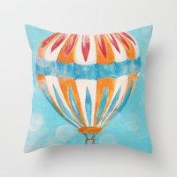 hot air balloon Throw Pillows featuring Hot Air Balloon #5 by Music of the Heart