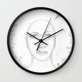 Silver hair pencil portrait Wall Clock