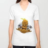 tiki V-neck T-shirts featuring Tiki by Eye Opening Design