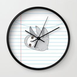 Sloth notebook page Wall Clock