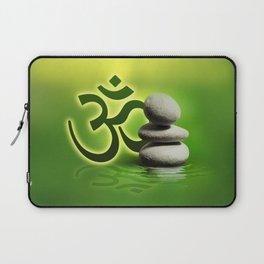 OM symbol  with zen stones on gentle green Laptop Sleeve