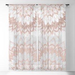 Modern chic rose gold floral mandala illustration on trendy white marble Sheer Curtain