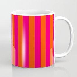Super Bright Neon Pink and Orange Vertical Beach Hut Stripes Coffee Mug