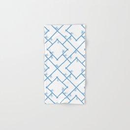 Bamboo Chinoiserie Lattice in White + Light Blue Hand & Bath Towel