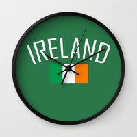 ruben ireland Wall Clocks featuring Ireland by Earl of Grey