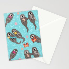 Otters Playing - Aquamarine Background Stationery Cards