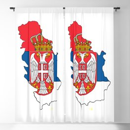 Serbia Map with Serbian Flag Blackout Curtain