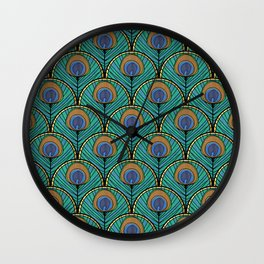 Glitzy Peacock Feathers Wall Clock