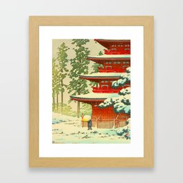 Vintage Japanese Woodblock Print Japanese Shinto Shrine Red Pagoda With Snow Capped Trees Framed Art Print
