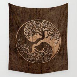 Rough Wood Grain Effect Tree of Life Yin Yang Wall Tapestry
