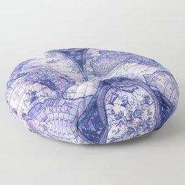 World Map Antique Vintage Navy Blue Floor Pillow