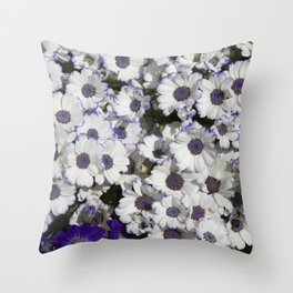 Cineraria White and Purple Throw Pillow