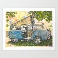 volkswagon Art Prints featuring VW Camper Bus by Barb Laskey Studio
